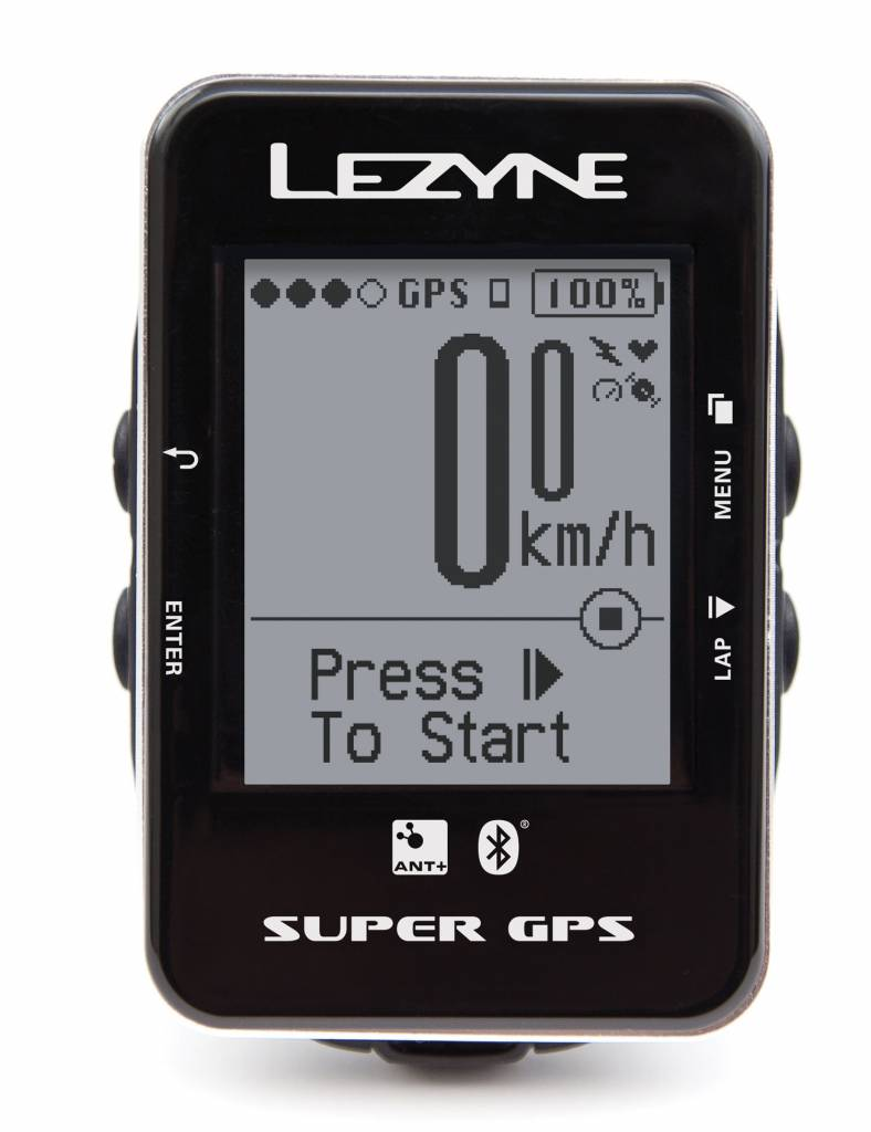 Lezyne Lezyne Super GPS Cycling Computer, Bluetooth (BLE) Functionality, ANT+, USB cable charger and handlebar mount: Black