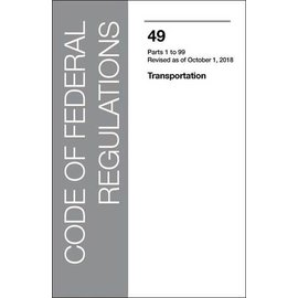 GPO CFR49 Volume 1 Parts 1-99, Transportation 2018