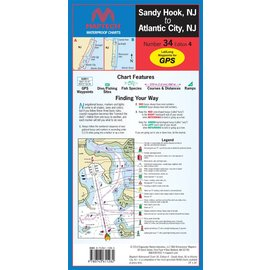 MTP Sandy Hook, NJ to Atlantic City, NJ Waterproof Chart by Maptech WPC034 4E