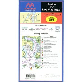 MTP Seattle and Lake Washington Waterproof Chart by Maptech WPC101 3E