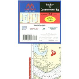 MTP Oak Bay to Commencement Bay Waterproof Chart by Maptech WPC102 1E