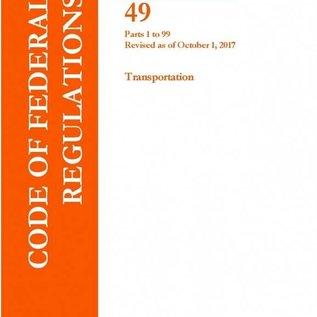 GPO CFR49 Volume 1 Parts 1-99, Transportation 2017