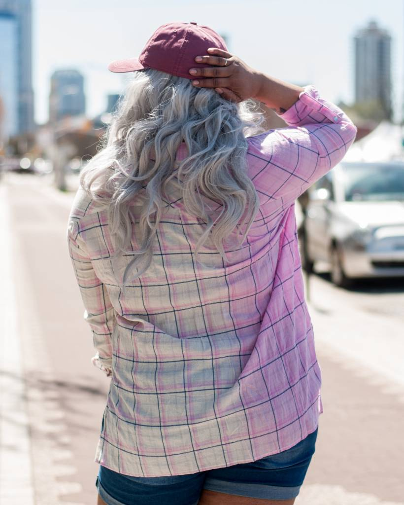 Plaid Crinkled Button Down Top