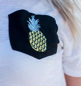 White Tee w/ Pineapple Detail