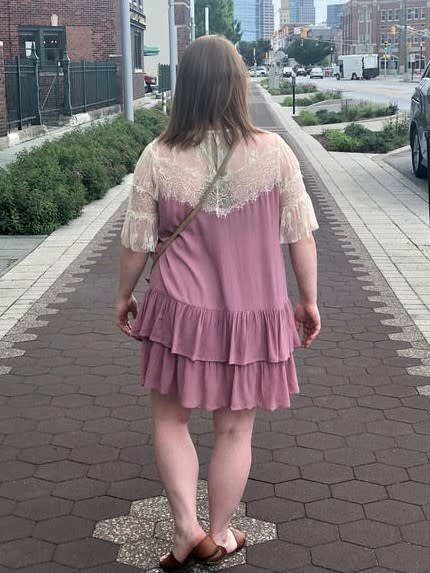 Rose Lace & Ruffle Dress