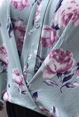Mint Floral Print Button Up Top