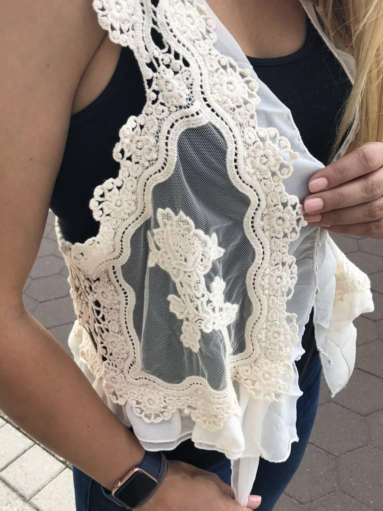 Nude Knit Lace Vest