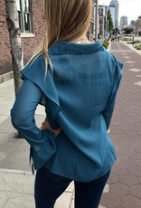Teal Transparent Ruffled Top