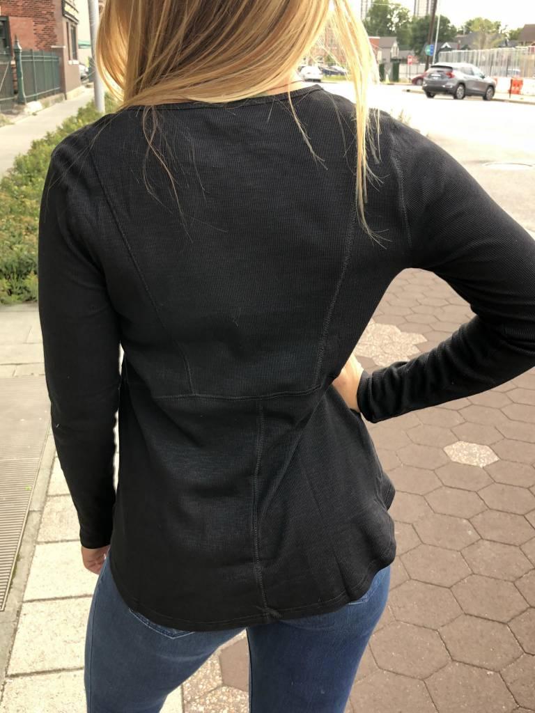 Black Long-Sleeve Drawstring Top