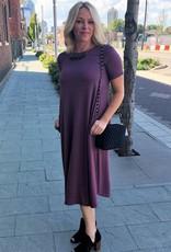 Eggplant Short Sleeve Pocket Dress