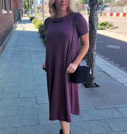 Eggplant Short Sleeve Pocket Dress