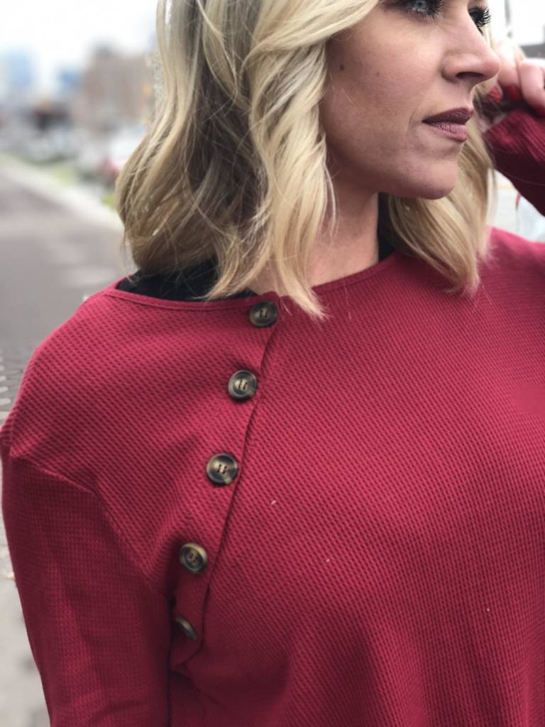 Long Sleeve Waffle Button Detail Top