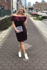 Burgundy Velvet Off-The-Shoulder Dress
