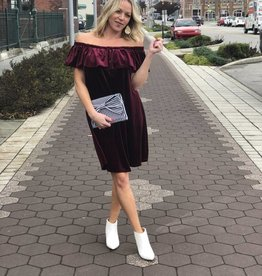 Burgundy Velvet Off-The-Shoulder Dress