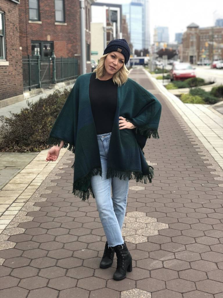 Hunter Green Plaid Pancho