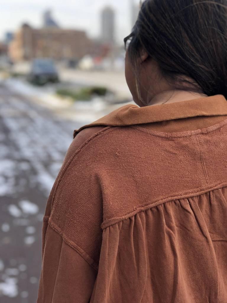 Terracotta Half-Zip Sweater
