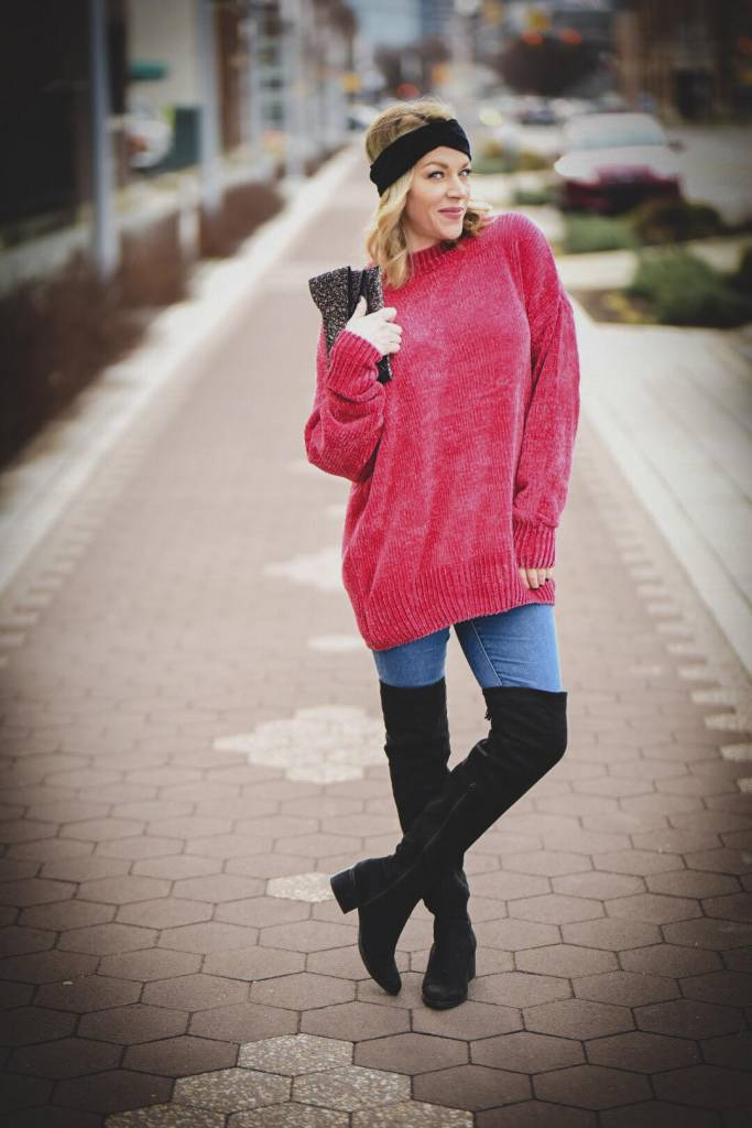 Fuchsia Round Neck Chenille Sweater