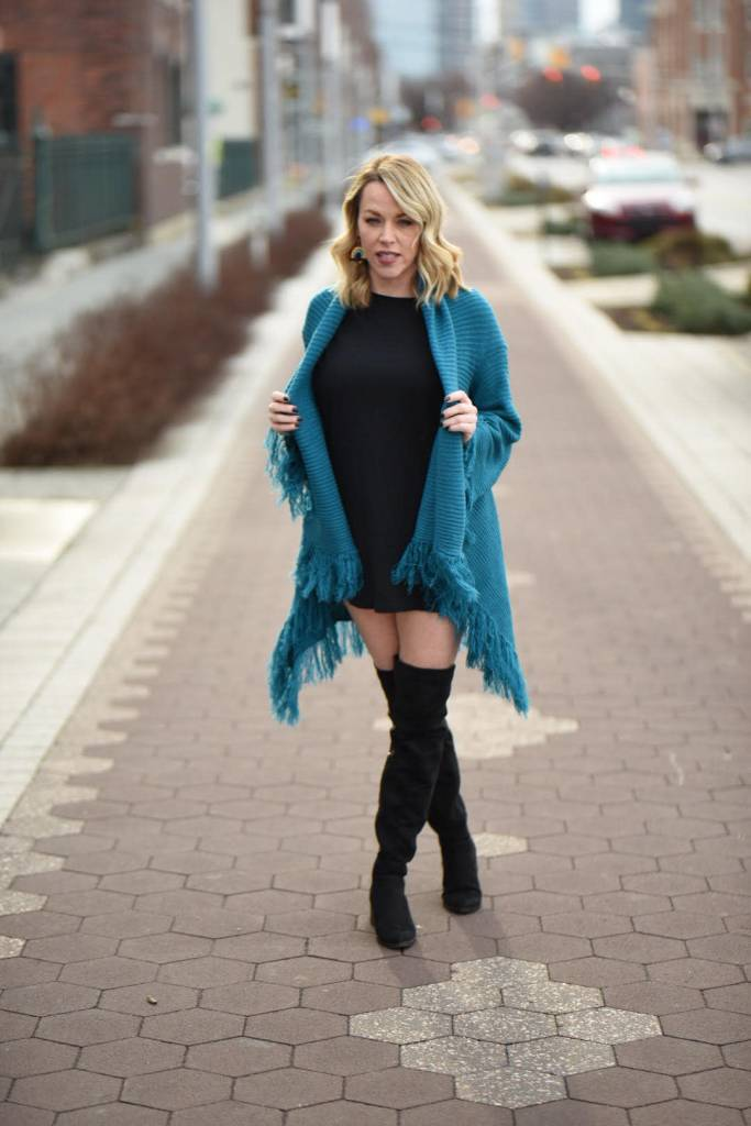 Teal Fringe Open Front Sweater