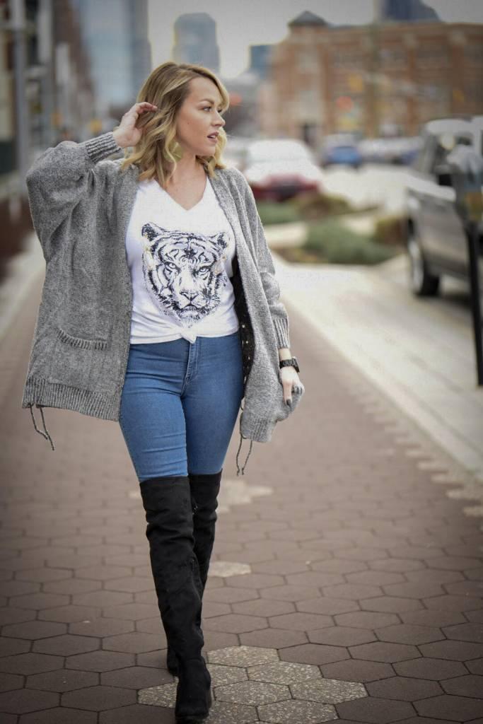 Heathered Lace Up Cardigan