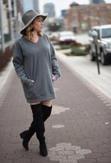 Charcoal Vneck Tunic Sweatshirt