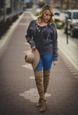 Lace Up Ash Sweater