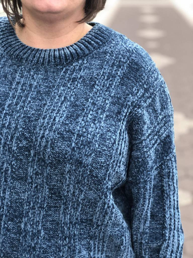 Teal Chenille Knit Detail Sweater