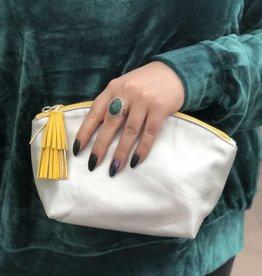 Silver Vegan Leather Makeup Bag