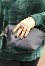 Navy Vegan Leather Makeup Bag
