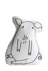 Cotton Embroidered Pig Pillow