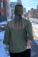 Olive Waffle Knit Detailed Pullover