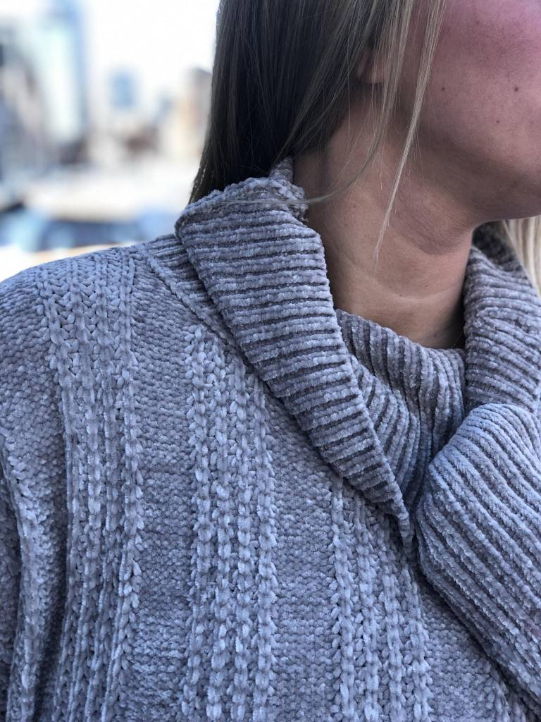 Grey Chenille Turtleneck