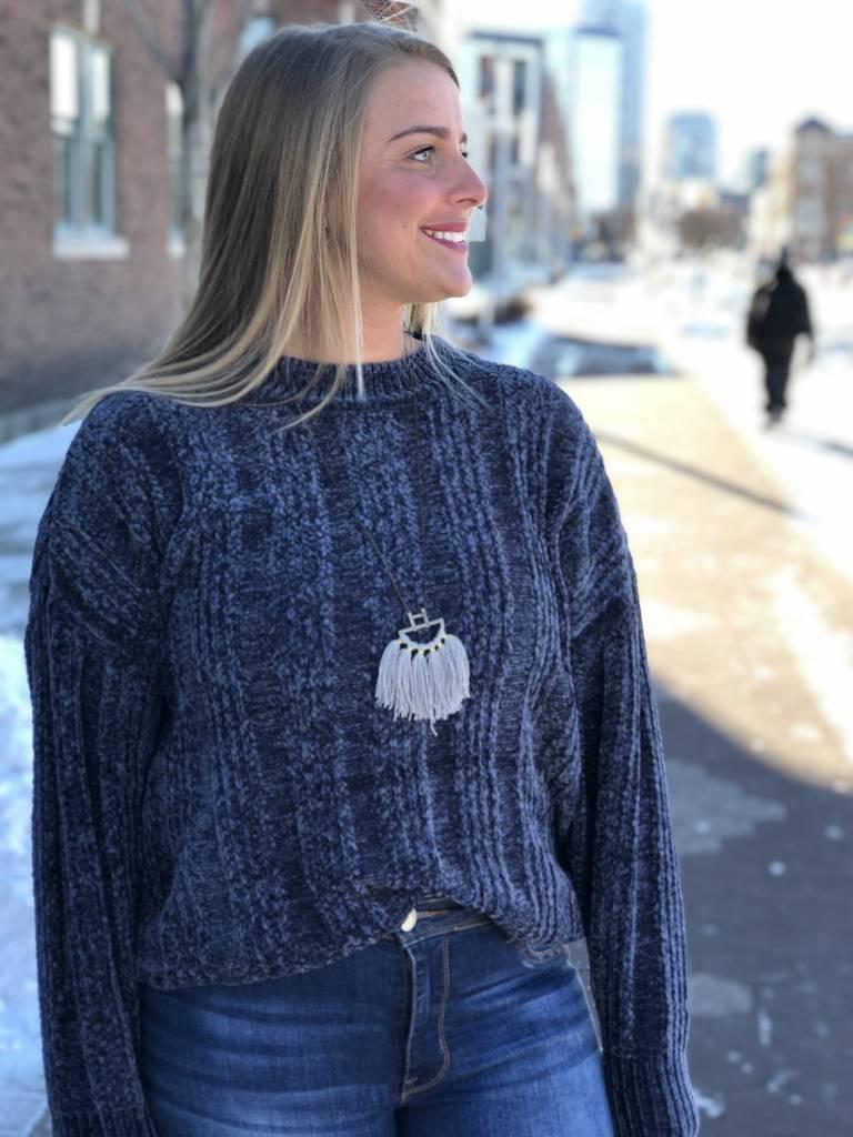 Navy Round Neck Chenille Sweater