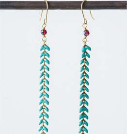 Turquoise & Crystal Drop Earrings