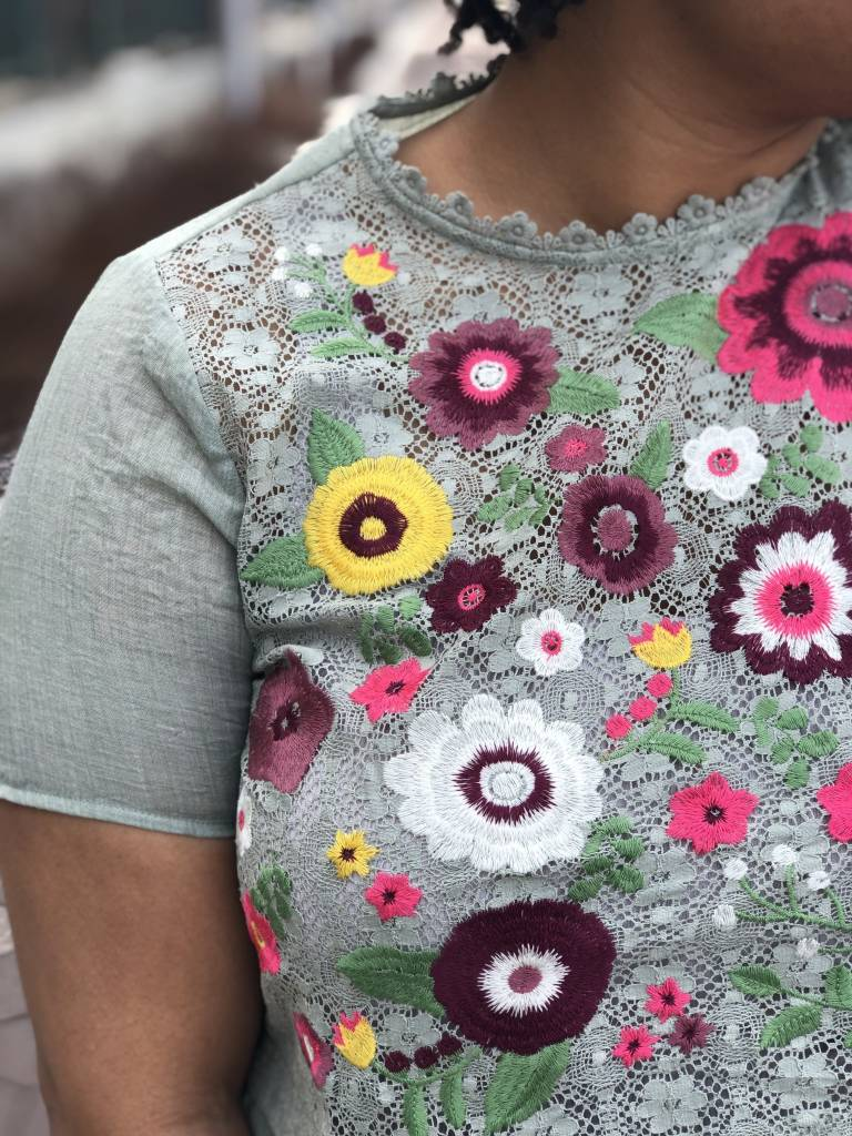 Mint Floral Embroidered Top