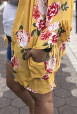 Floral Print Ruffle Kimono