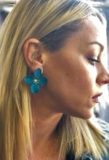 Teal Floral Stud Earrings