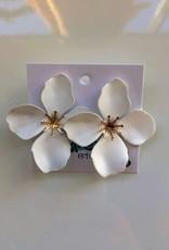 White Floral Stud Earrings