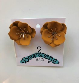 Mustard Floral Stud Earrings