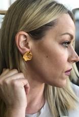 Mustard Floral Stud Earrings