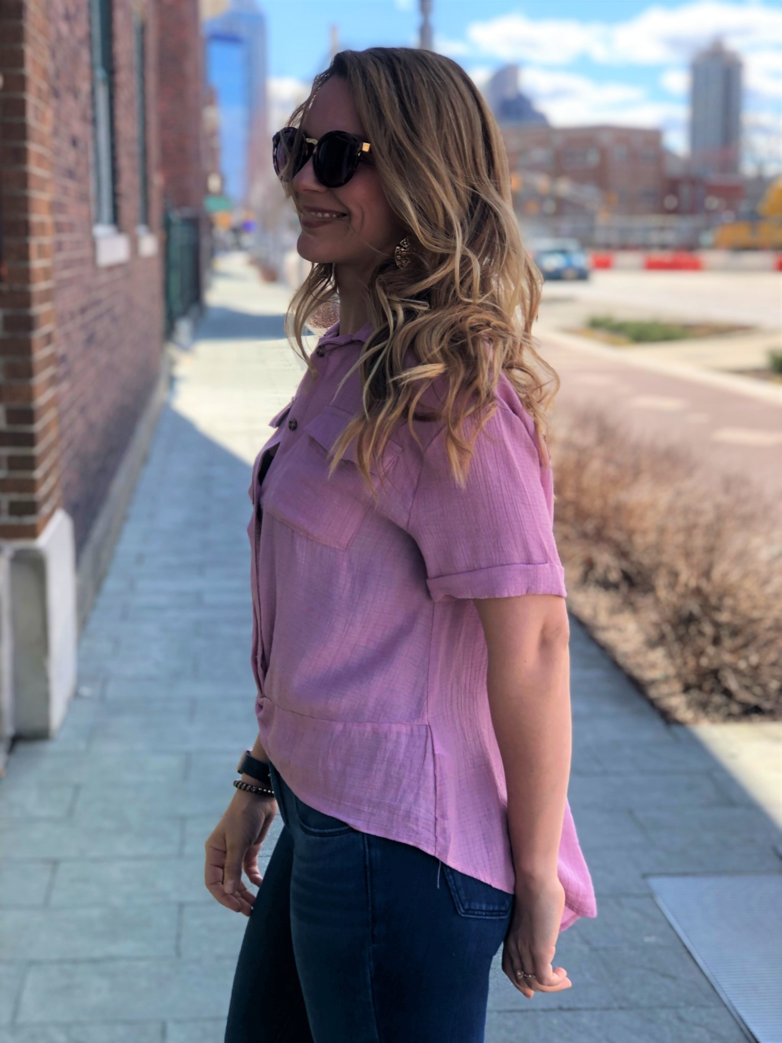Mauve Cuffed Sleeve Button Up