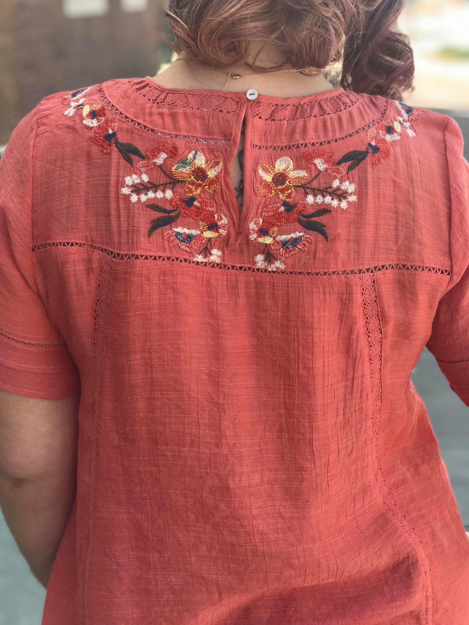 Clay Floral Embroidered Top