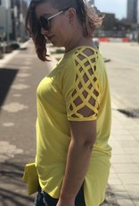 Yellow Shoulder Detail Tee