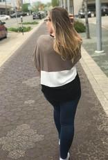 Latte Colorblock Waist Tie Top