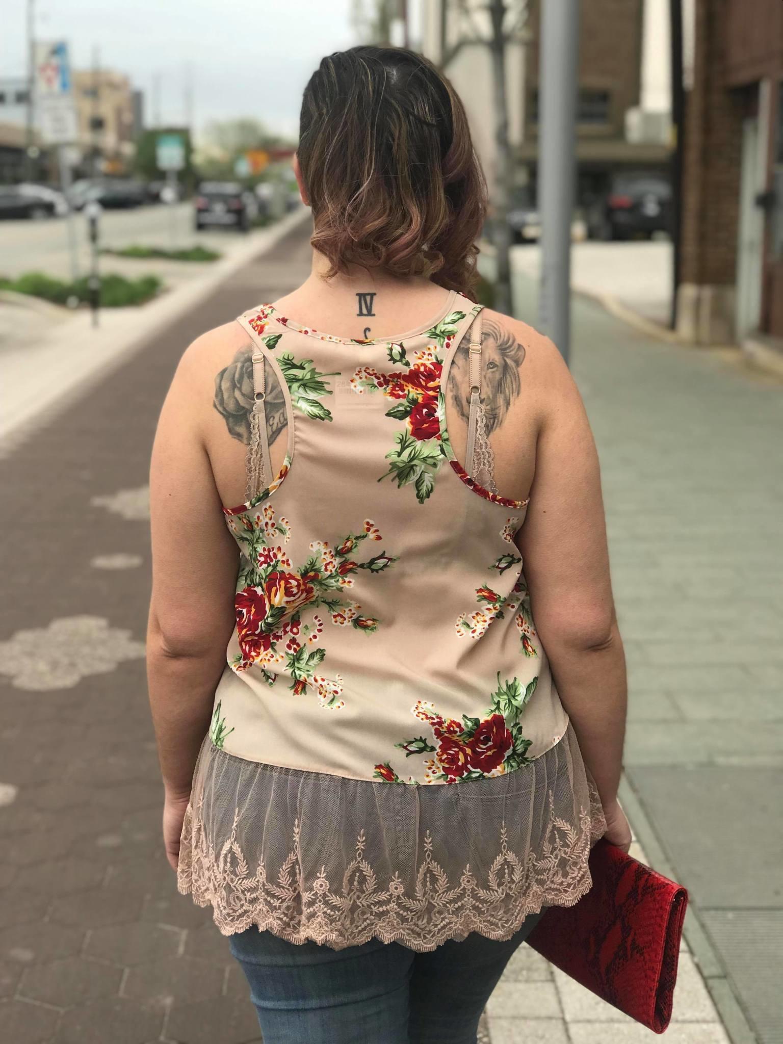 Latte Floral Print Lace Trim Tank
