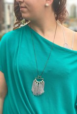 Grey Cotton Fringe Statement Necklace