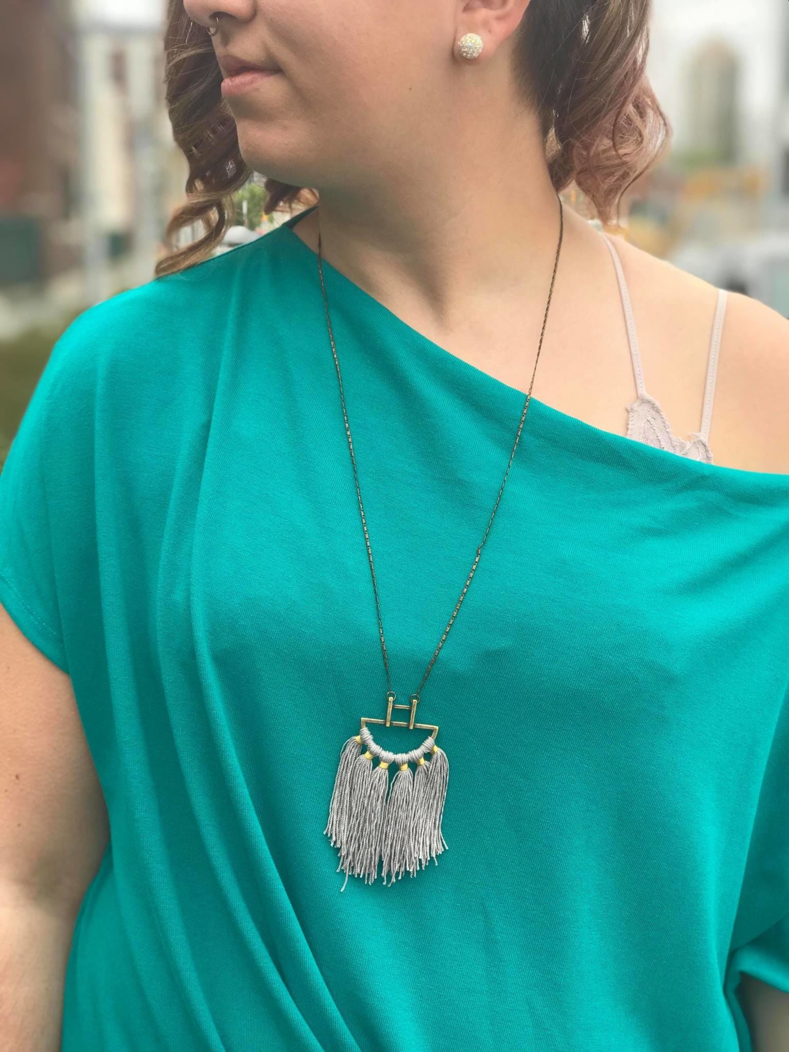 Grey Cotton Fringe Statement Necklace