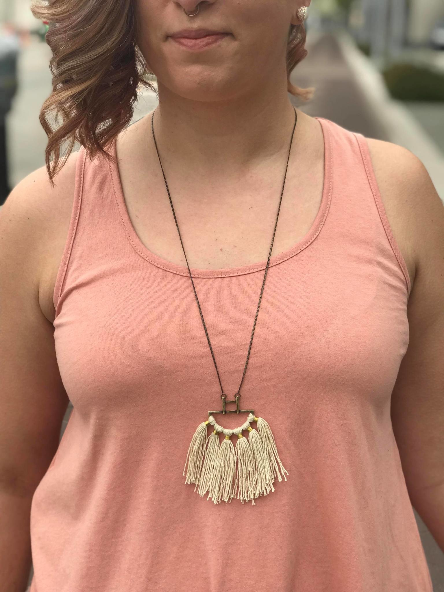 Cream Cotton Fringe Statement Necklace