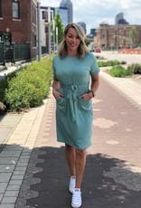 Sage Short Sleeve Belted Dress