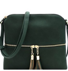 Olive Tassel Accent Cross Body