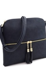 Navy Tassel Accent Cross Body